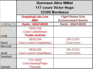 HOraires MMA 2019-2020