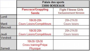Planning Palais sports