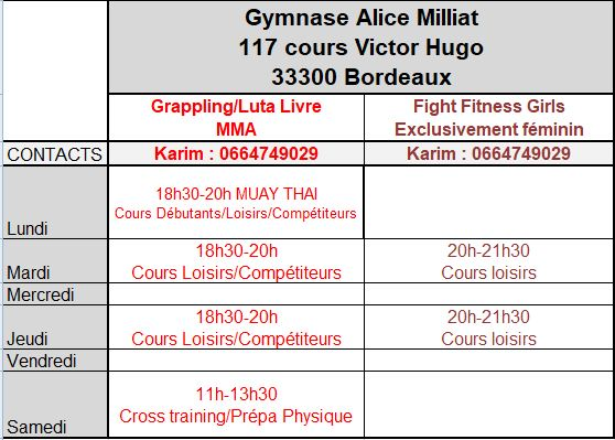 Horaires MMA 2020-2021
